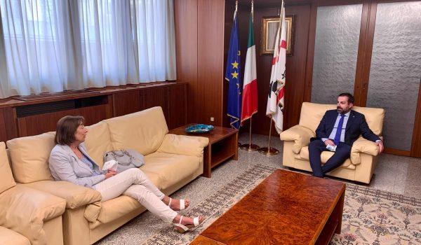 Cagliari, 27 maggio 2020 - Visita ufficiale in Consiglio regionale della Rappresentante del Governo per la Regione Sardegna. La Prefetta Amalia di Ruocco.